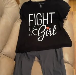 Plus size 3x Fight Like a Girl top and pants